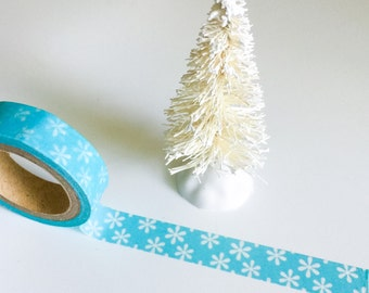 Blue SNOWFLAKES THIN WASHI Tape Aqua White Snowflake Pattern Skinny Roll Craft planner crafts planners Christmas card embellishments cards