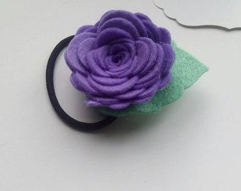 Purple felt flower hair band elastic