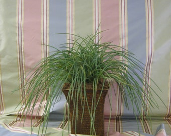 Kravat Silk Stripe Fabric in Peach, Moss and Slate Blue