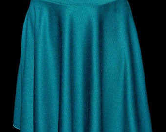Ponte Knit Stretch Turquoise  circle skirt ...size 10-12..