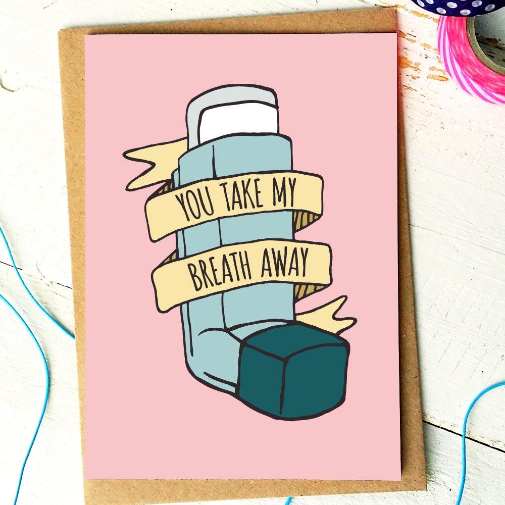 you take my breath away funny valentine card valentines. Black Bedroom Furniture Sets. Home Design Ideas