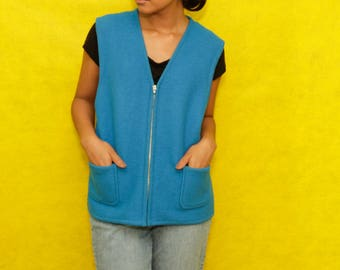 Petite Blue 100% Wool Soft Vest with Pockets & Zipper