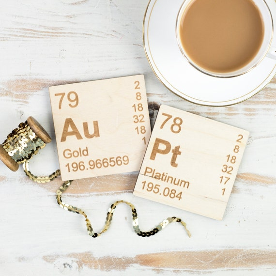 Au pt wooden coasters set periodic table gold platinum urtaz Image collections