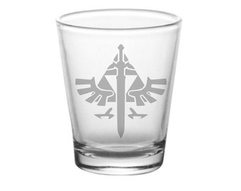 Legend of Zelda Master Sword Shot Glass - Zelda Hylian Crest Shot Glass - DEEP Etched Zelda Glass - Geeky Glassed Exclusive