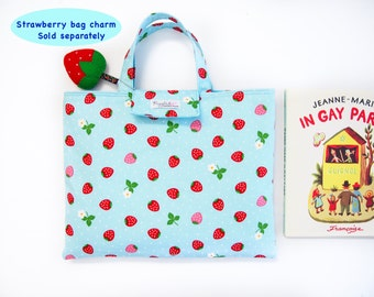 Cushy Library Tote Bag - Strawberry (Blue)