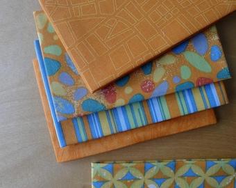 Barcelona Saffron Orange FQ Bundle - Zen Chic Moda Brigitte Heitland - Fat Quarters (5) Pieces - Modern Quilting Crafting Cotton Fabric