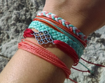 Surfer Bracelet Pack, Friendship Bracelet Set, Waterproof Wax Cord, Custom Friendship Bracelet, Adjustable Boho Bracelet, Set of 5