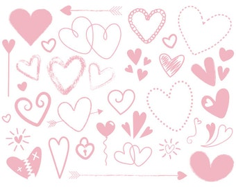 Dusty Pink Scribble Heart Cip Art Set   Cute Pastel Valentine Love Graphic   Digital Illustration Icons   Personal or Commercial Use