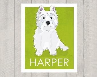 Westie Dog  Art Print - Custom Dog Art