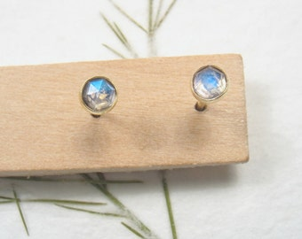 3mm rose cut Moonstone , solid 9k yellow gold studs earrings, Mother day earrings