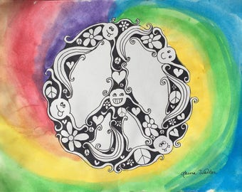 Peace sign painting art
