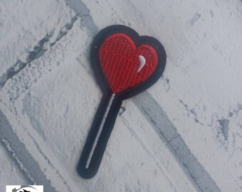 Red Heart Lollipop Embroidered Patch Applique Gothic Emo Punk