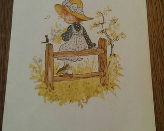 Vintage 1971 Lithograph in Holly Hobbie Style Morris Manufacturing Girl Sitting on a Fence Bird Singing