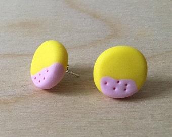 Lemon and Pink 5 Dots Stud Earrings