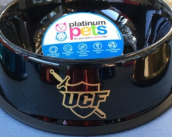 Medium 4 cup, UCF Knights dog bowl, metal, rust proof, dent proof, metallic, made to order, personalized, stainless steel