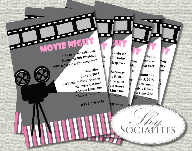Pink & Grey Movie Night Invitation Cinema Hollywood Movie