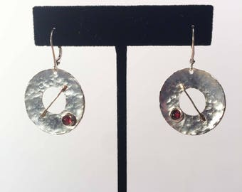 Sterling silver, 18 K Gold and Garnet Earrings