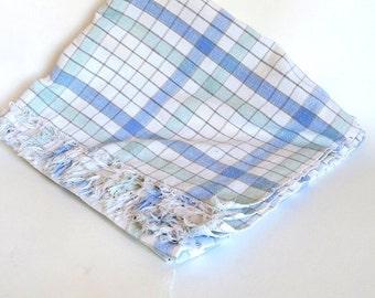 Vintage, Cotton Tablecloth, Cotton Linens, Retro kitchen, Table Linens, Light Blue and light green, Plaid tablecloths, Sky blue, Mint green
