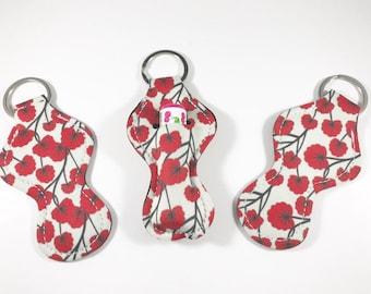 Baume à lèvres détenteurs, trousseau de baume à lèvres, baume à lèvres porte fleurs rouges