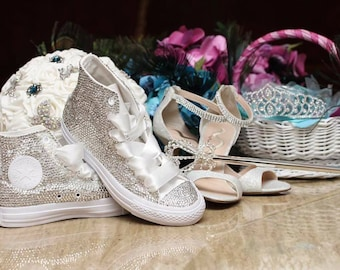 Swarovski (Crystal) Diamonds Blinged Out Converse  Chuck Taylor Bridal Wedding Sneakers Crystal Wedding Sneakers