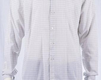 COS shirt-Mens shirt-Plaid pattern-GR L-cotton shirt-light material-button down collar-long sleeves