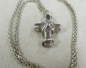 Masculine Sterling Silver Cross Necklace