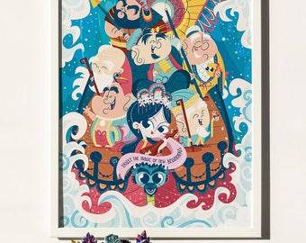 Seven Gods of Fortune PRINT • Vector Illustration • Zen decor, Amulet, Luck, Eastern, Japanese, Seven Lucky Gods, Shichi Fukujin, Takarabune