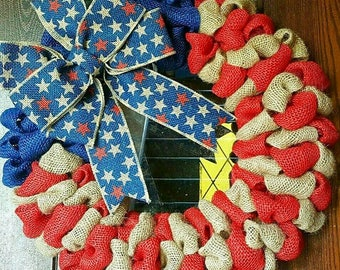 American Flag, Fourth of July Wreath, 4th of July, Patrioric, Burlap Flag Wreath, American Flag Wreath, 4th of July Wreath, Military, Vet