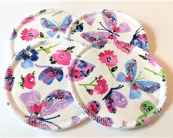 2 Pairs of Cloth Nursing Pads - Butterflies and Flowers