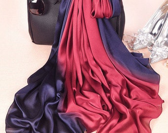 Pure silk scarf gradient burgundy navy perfect gift
