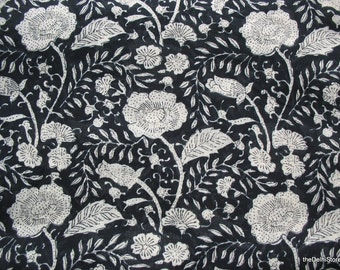 Cotton Voile Fabric by Yard Floral Kalamkari Print  in Black and Off White