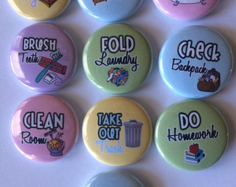 "chore chart magnets. Set of 10 1"" or 1.25"""