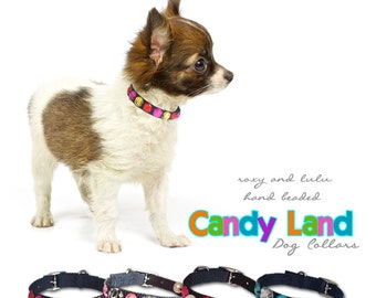 Roxy and LuLu - CANDY LAND rhinestone hand beaded pet collars in 7 sizes.