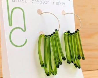 Spring Green Glass Dangle Sterling Silver Hoop Earrings