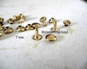 Snap rivets, 7 mm, snap grommets, Brass Rivets, raw brass, metal jewelry findings, brass jewelry, grommets, unusual, rare, gold tone