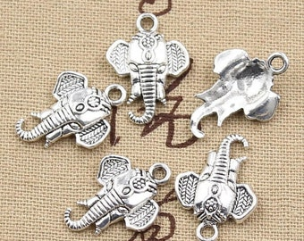 10 Elephant Charms Antique Silver Tone Charms Elephant Head Charms Charm Bracelet Bangle Bracelet Pendants #465