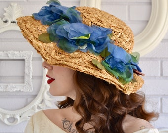 Vintage Straw Hat with Blue Flowers and Large Front Brim