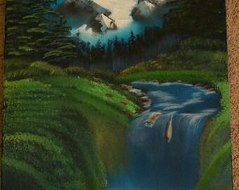 Bob Ross Style Original - Valley Waterfall