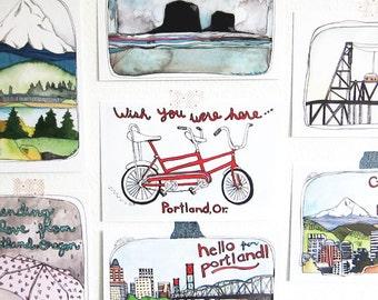 Postcards - Set of Portland Oregon Postcards - Illustrated Portland Oregon Postcards - Portland Oregon - Set of 7 Portland Postcards