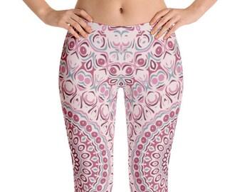 Yoga Pants Pink, Womens Yoga Leggings, Print Leggings, Antique Pink Mandala Print Pants, Stretch Leggings, Stretch Pants Women