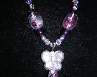 Butterfly Pink Passion Beaded Necklace (N20)