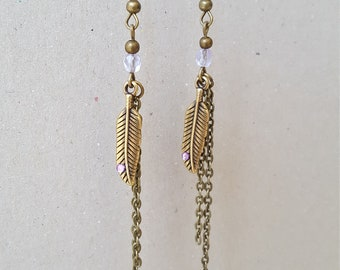 Long purple feather Earrings