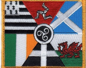 """The CELTIC NATIONS Flag, Superior Quality Iron-On / Saw-On Embroidered Patch - 3.5"""" x 2.25"""" - Made in the USA"""