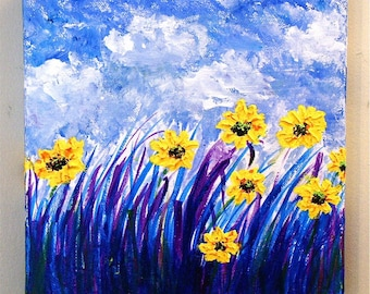 Original Acrylic Painting Flowers Field  Impressionism
