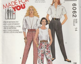 Pants Pattern 1990's Knit Tapered Legs With Optional Stirups Misses Size 14 uncut McCalls 6062