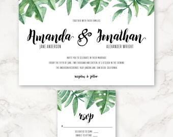 Printable Wedding Invitation - Watercolor Tropical Greenery - Hand Painted - Leaves - Green - DIY Printing - Destination Wedding