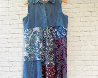 Summer Dress -  Upcycled Clothing - Refashioned Boho Clothing for Women - Denim Sleeveless Dress - Paisley Prints - Blue Purple Lavender