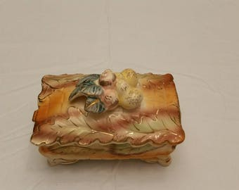 Antique Porcelain Trinket Box   Vintage Jewelry Storage   Fall Leaf Leaves  Acorns Decor   Hand