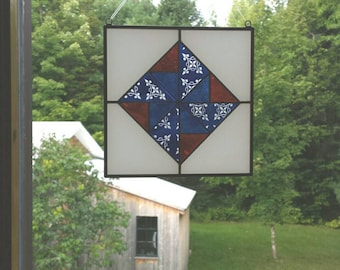Stained Glass Quilt Hanging,  Glass Quilt Window Suncatcher, Glass Suncatcher,  Stained Glass Panel,  Engraved Glass Quilt,  BV301