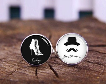 Lady And Gentleman cufflinks, gentleman cuff links, Mr & Mrs, custom name or date, custom wedding cufflink, groom cufflinks, tie bars or set